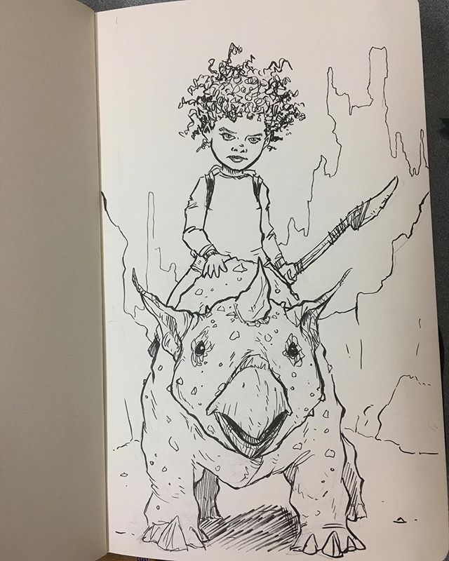 """Just ridin' through the #apocalypse with my bud."" . . . . #ink #inkstagram #inkdrawing #sketch #inksketch #drawing #monster #dino #dinosaur #dinoart #creature #creaturedesign #funart #fun #instaart #instagood #rambleon #ramblin #journey"