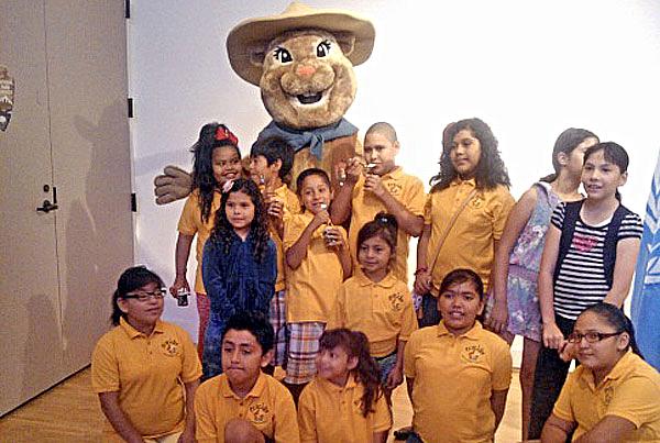 Project Vida Eco-Club with National Park Service Mascot at Chamizal National Memorial Park.
