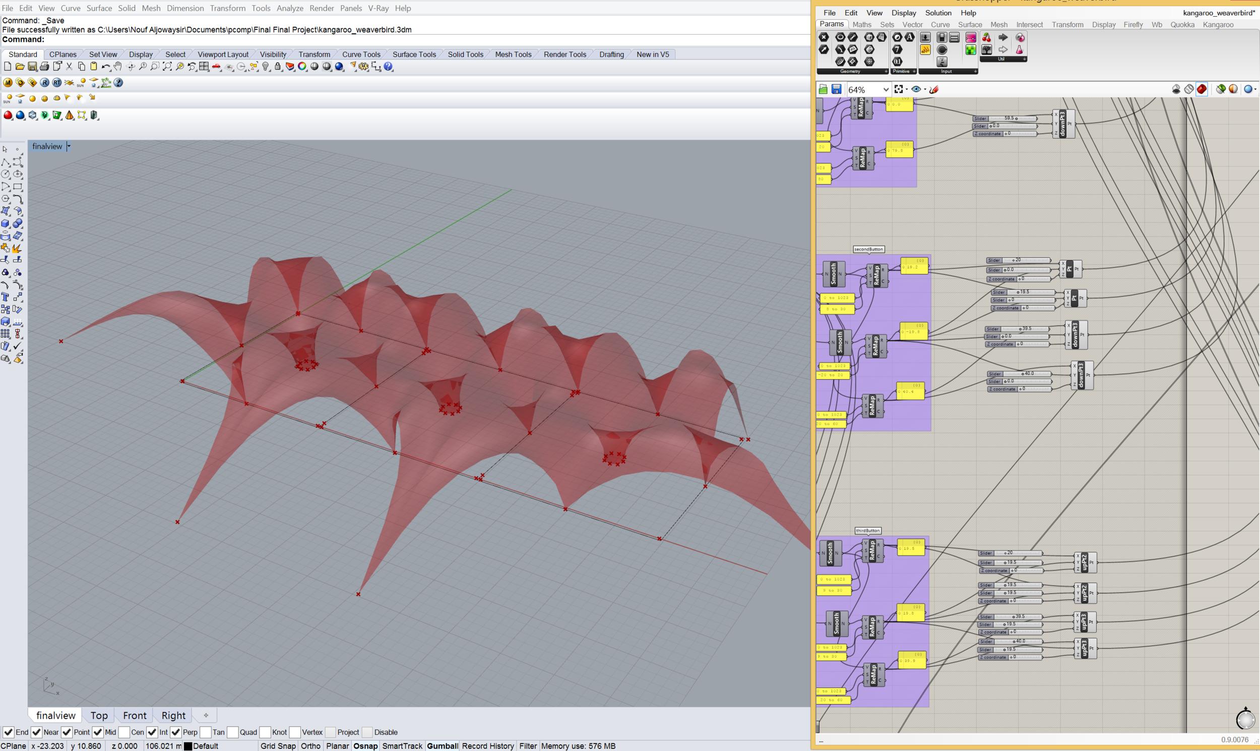 Model built using Grasshopper and physics engine called Kangaroo (in Rhino)