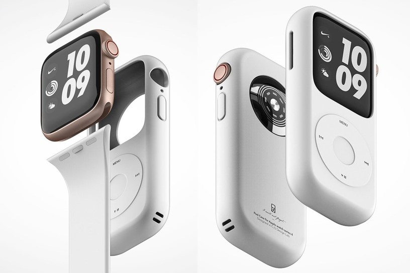 APPLE WATCH IPOD CONCEPT    Spotted by   9to5Mac   ,  the concept images show a silicone case in the shape of Apple's classic click-wheel iPod, that neatly houses an Apple Watch Series 4. None of the buttons on the case are functional, of course, but are just there for aesthetic purposes. You'd still be able to use the Apple Watch as normal, through the touchscreen or via a pair of wireless earbuds.