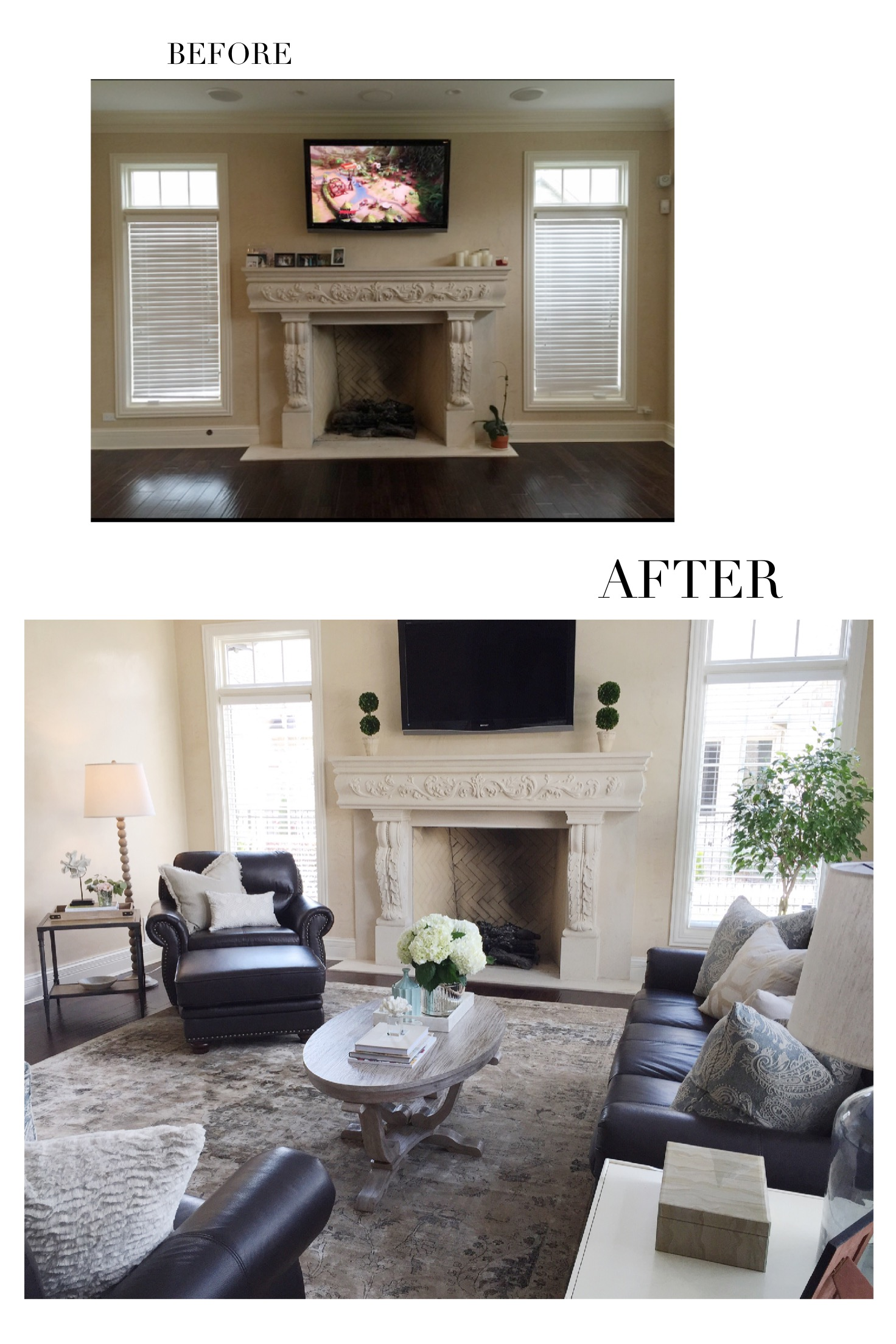 Before and After- Chicago Home Interiors by Laura Design Co.