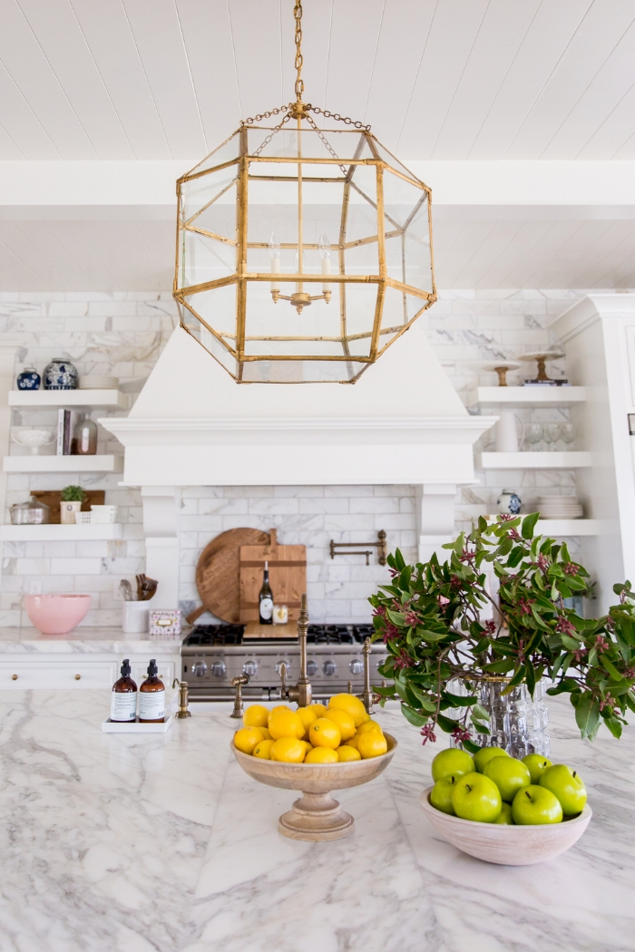 Image credit: Kitchen of Rachel Parcell via  Pink Peonies , Design by Rachel Parcell, Accessory styling by Studio McGee, Photography by Lindsay Salazar