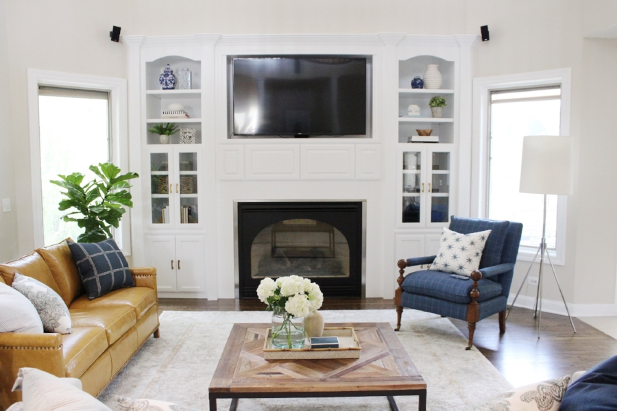 Fresh Classic Family Room Remodel by Laura Design Co.