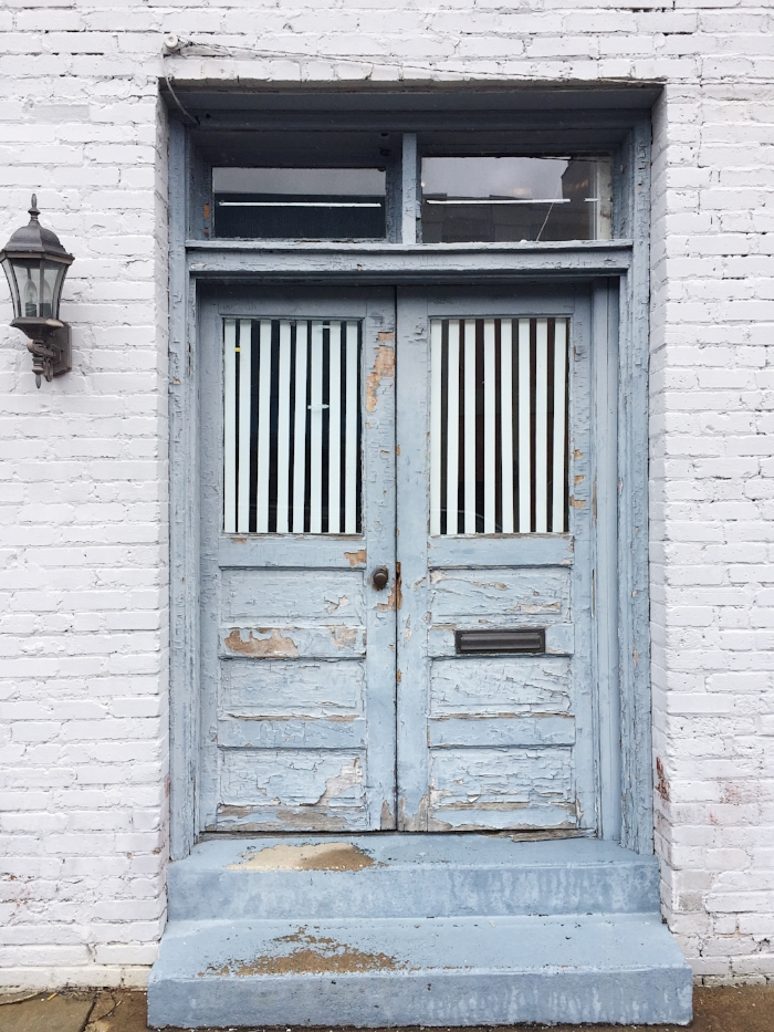 Blue Exterior Door, Painted White Brick in High Point, NC - Photo by Laura Irion