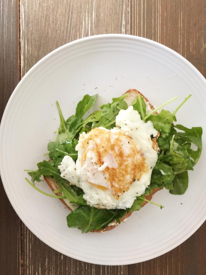 Open faced egg & arugula sandwich - Laura Design Co.
