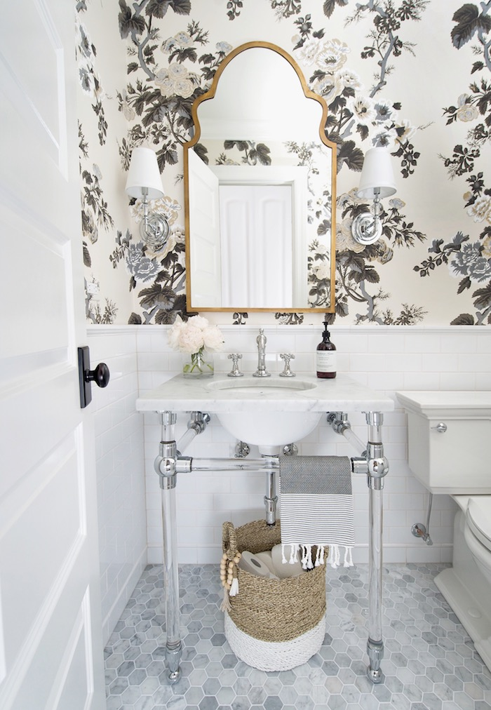 "Powder Room with RH glass console sink, Schumacher Pyne Hollyhock wallpaper, white subway tile, 2"" hex marble flooring & traditional styling. Interior Design by Laura Design Co."
