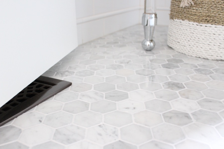 "2"" Hexagon Marble Mosaic Tile - Powder Room by Laura Design Co."