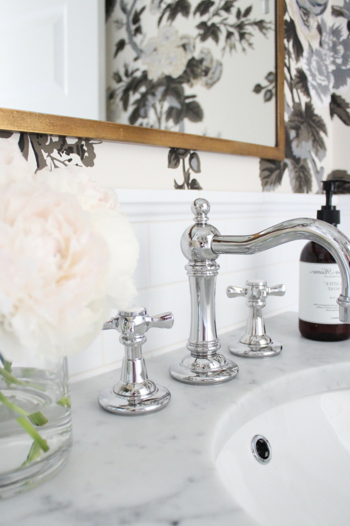RH Vintage Chrome Faucet, Marble Console Sink, Schumacher Hollyhock Pyne Wallpaper- Interior Design by Laura Design Co.