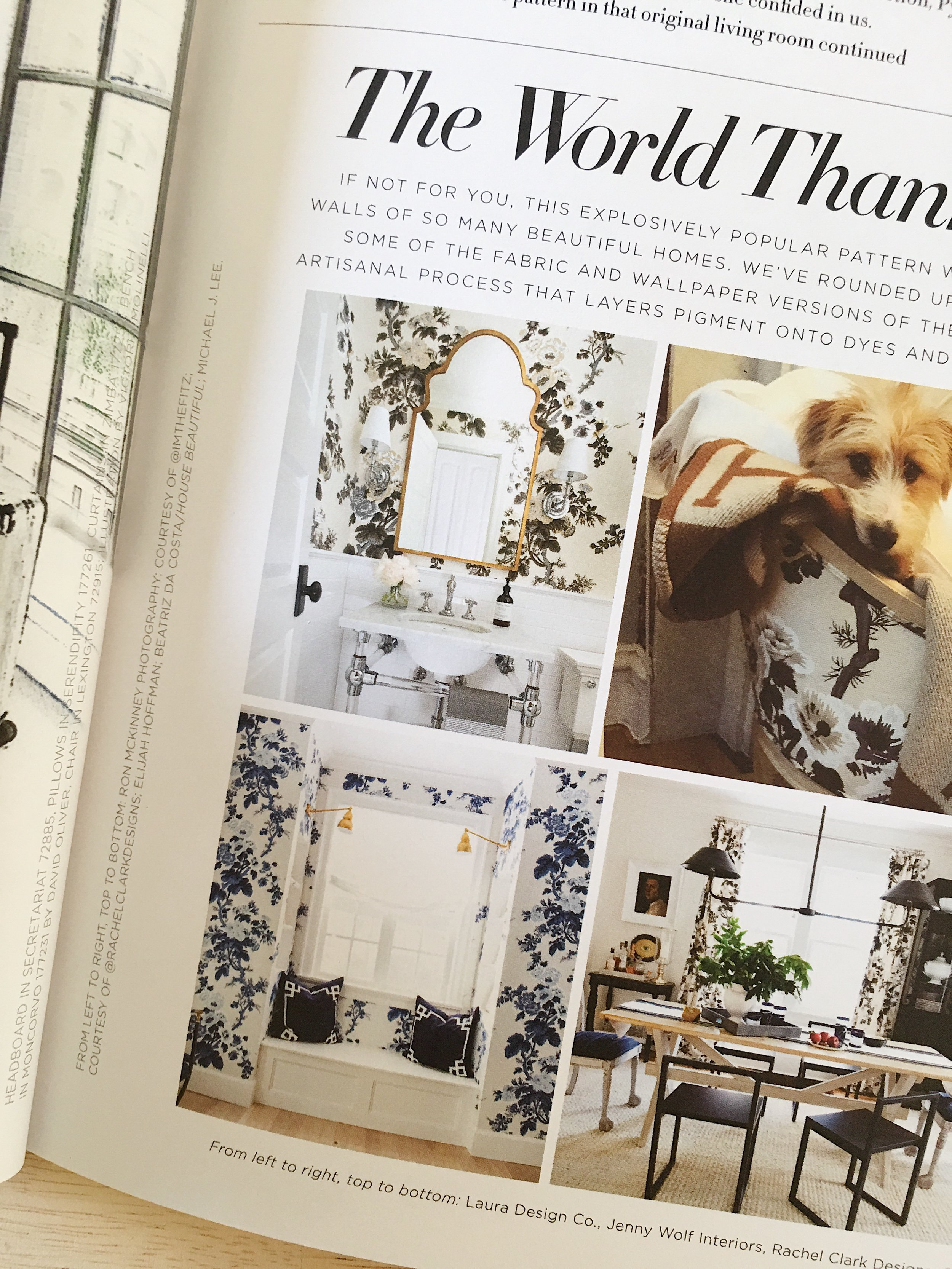 Schumacher's The Bulletin Magazine, featuring Pyne Hollyhock fabric & wallpaper and bathroom design by Laure Design Co.