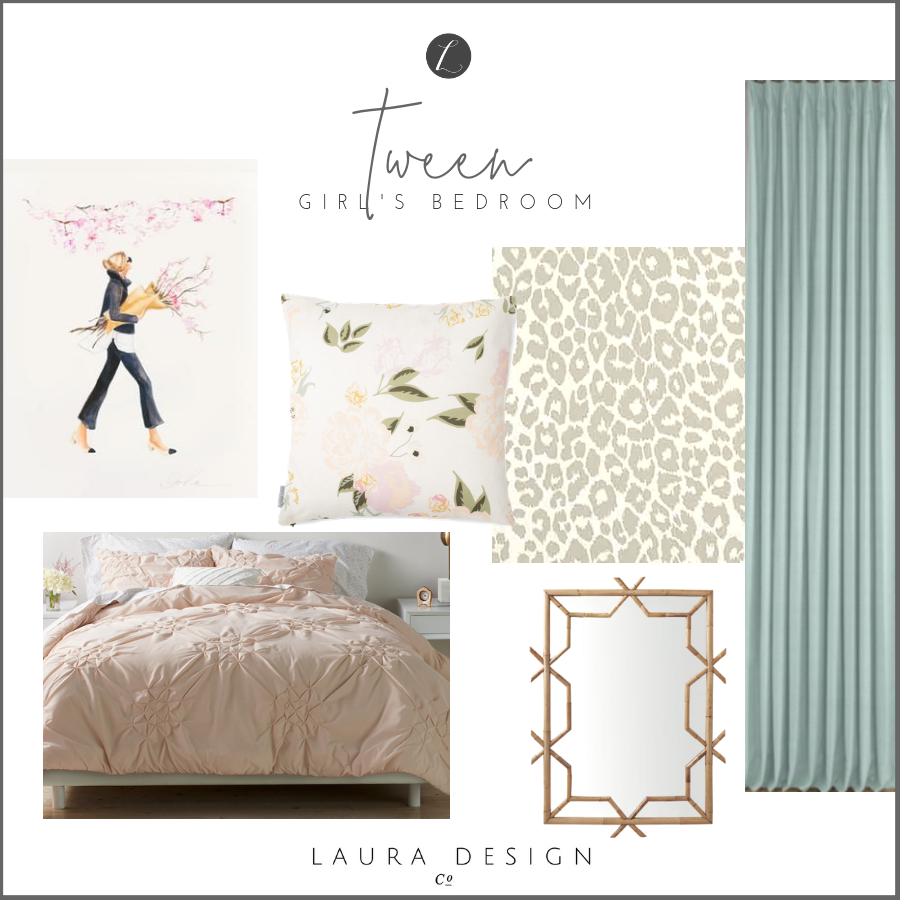 Tween girls bedroom design- One Room Challenge by Laura Design Co.