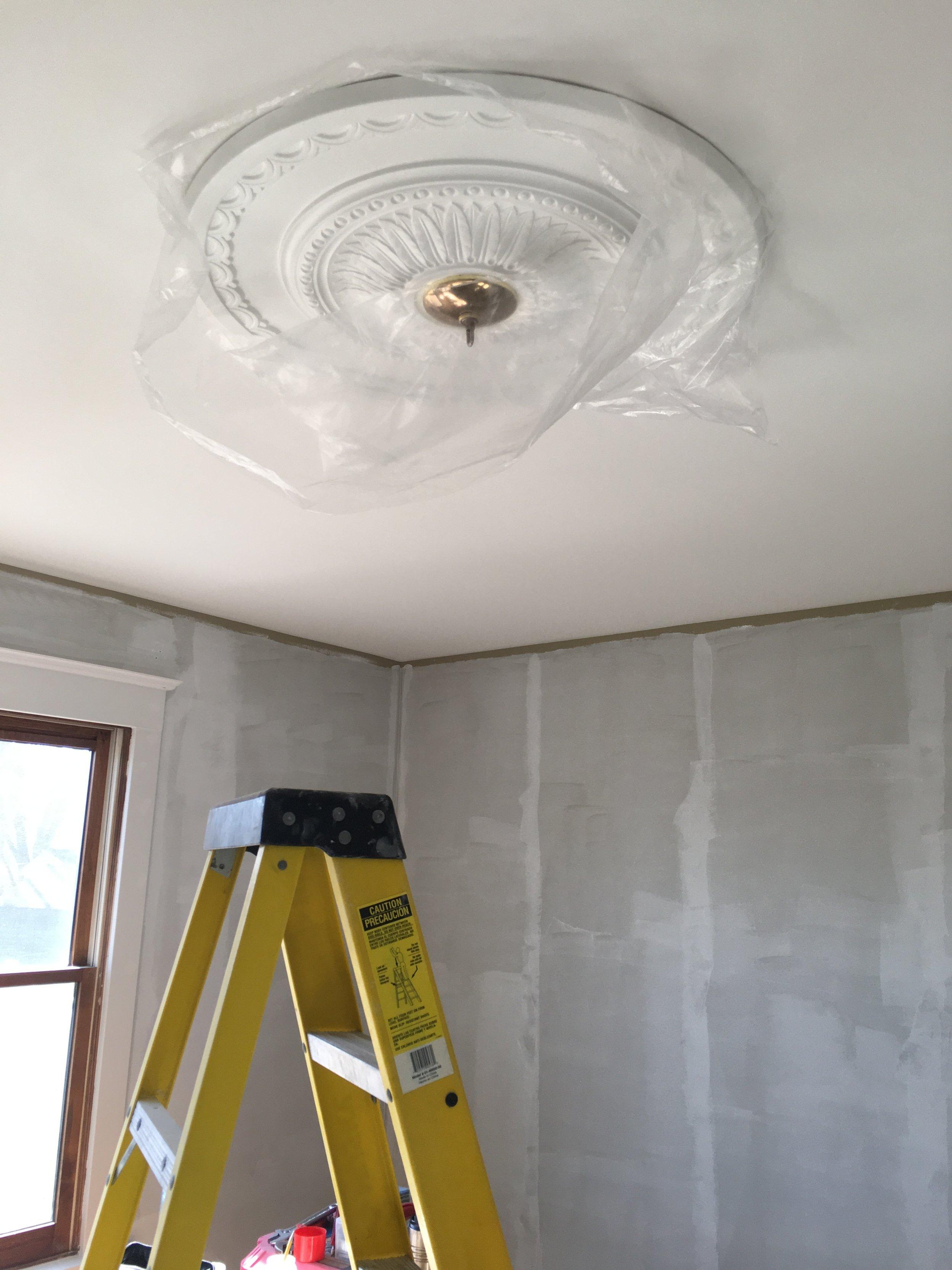Tween Girls Room Makeover- Ceiling Medallion Installation