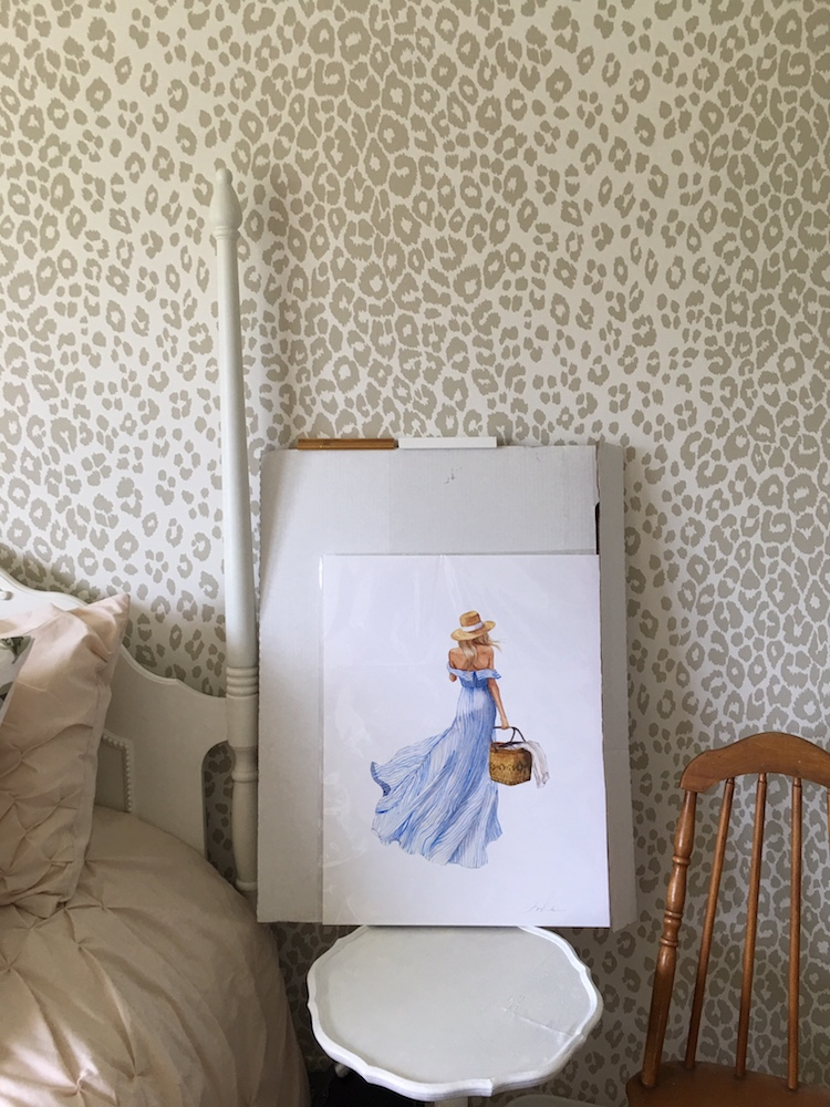 Artwork by Inslee Farris, Wallpaper by Schumacher, One Room Challenge Tween Girls Room by Laura Design Co.
