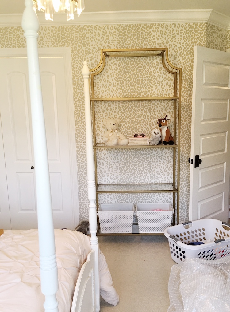 Schumacher Iconic Leopard Wallpaper- Tween Girls Bedroom Makeover by Laura Design Co.