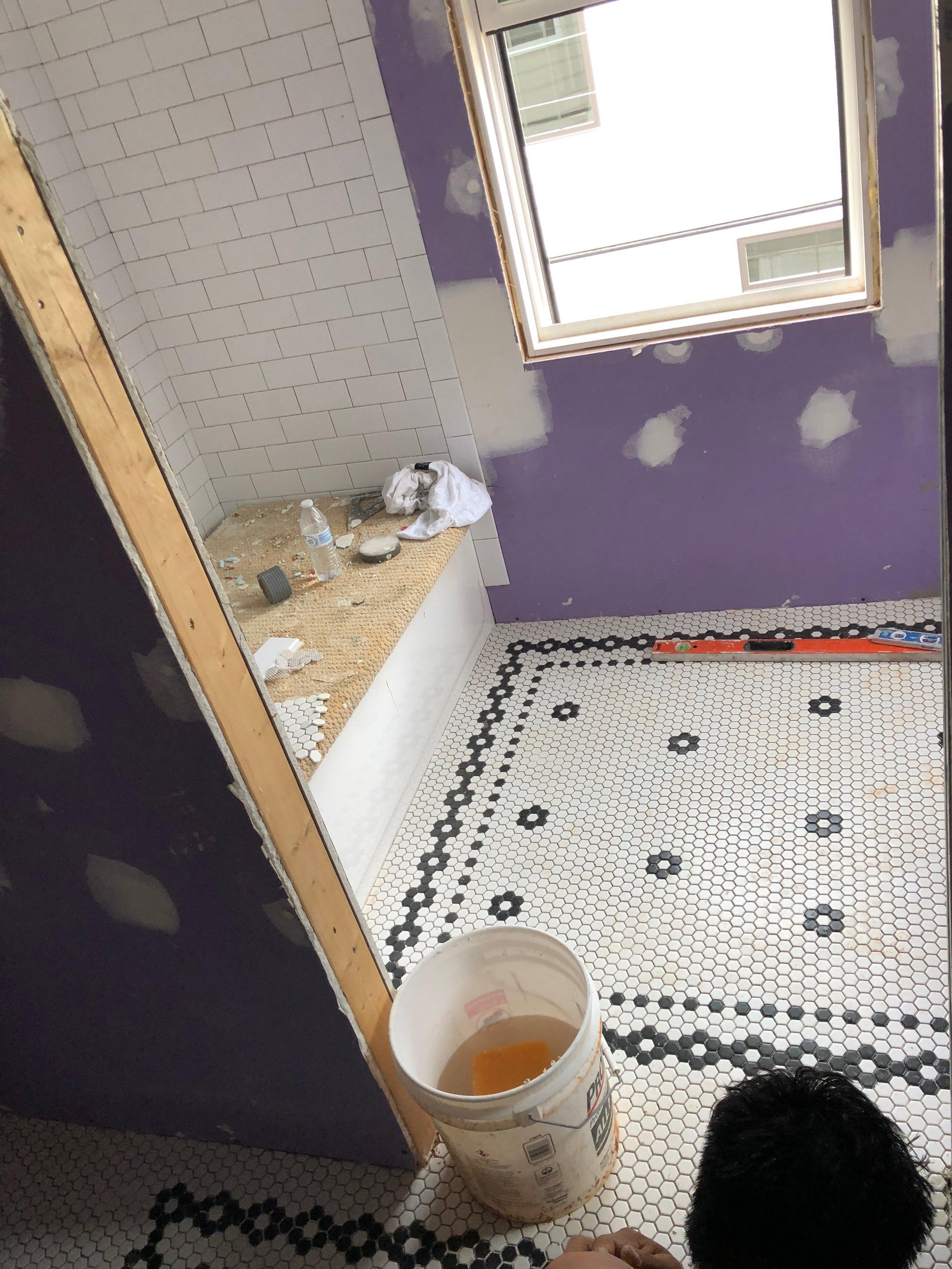 Hex Tile Mosaic Bathroom Floor- Interior Design by Laura Design Co.