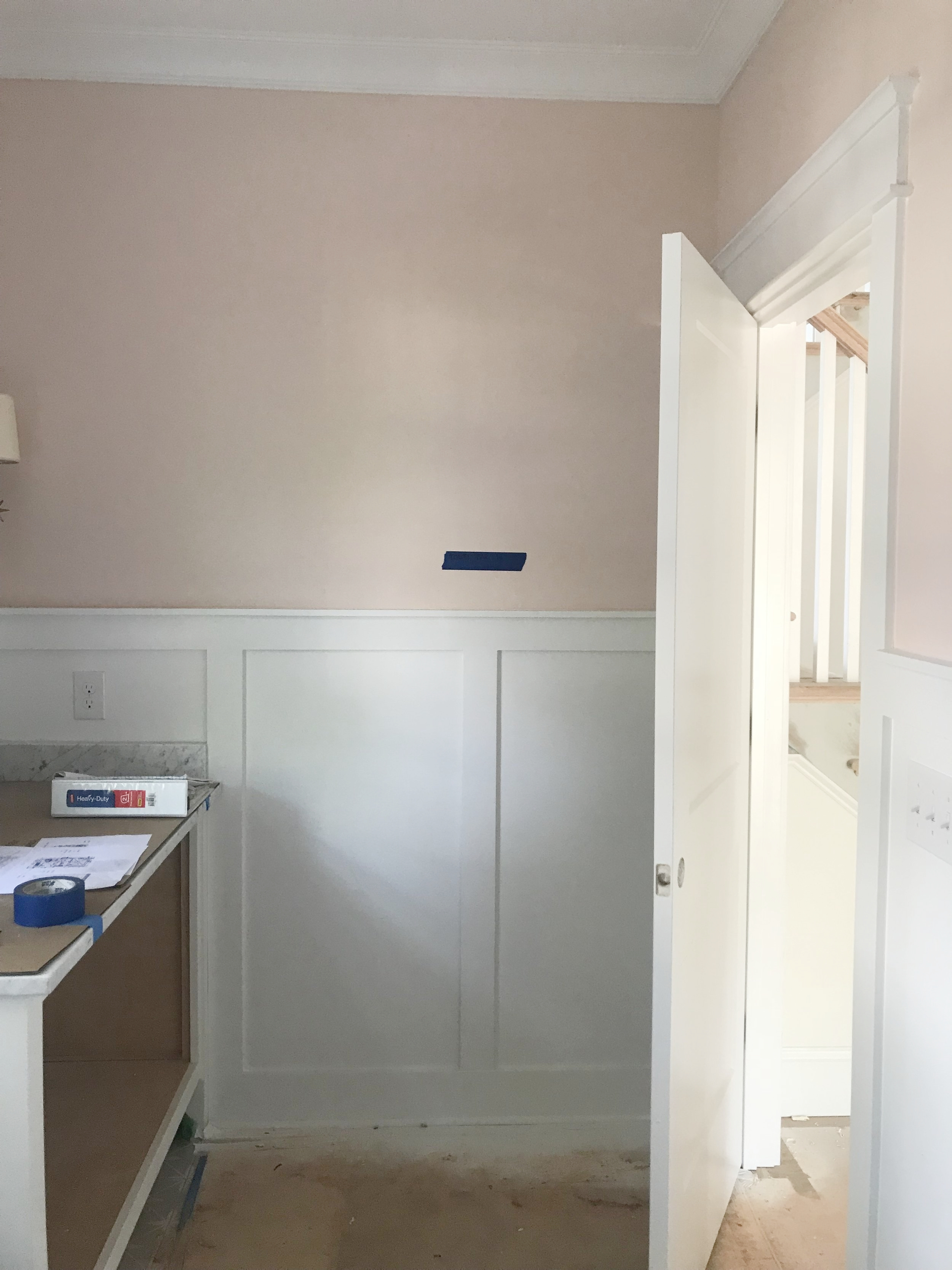 Farrow & Ball Pink Ground Paint- New Construction, Charlotte NC by Timberline Homes, Interior Design by Laura Design Co.