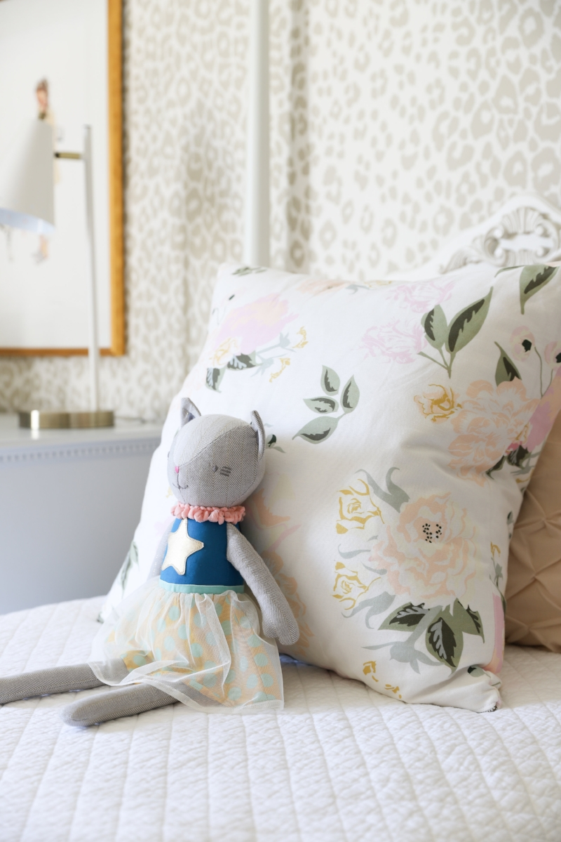 Target Pillowfort Kids Plush Cat Doll - Tween Girls Bedroom Design by Laura Design Co., Photo by Emily Kennedy