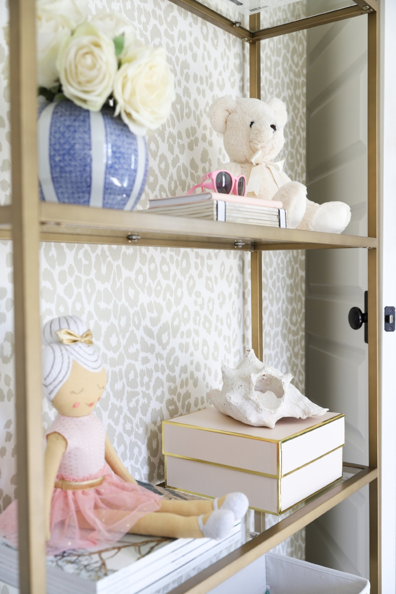 Bookcase Styling- Tween Girls Bedroom Makeover, One Room Challenge Interior Design by Laura Design Co., Photo by Emily Kennedy