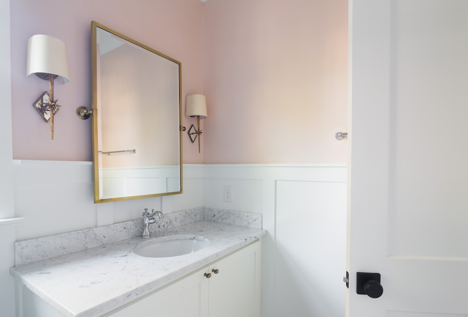 Visual Comfort Etoile Sconces, Carrara Vanity Top Marble