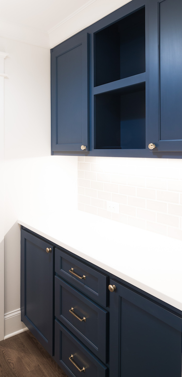 Newbury Port Blue by Benjamin Moore- Butler's Pantry Design by Laura Design Co.
