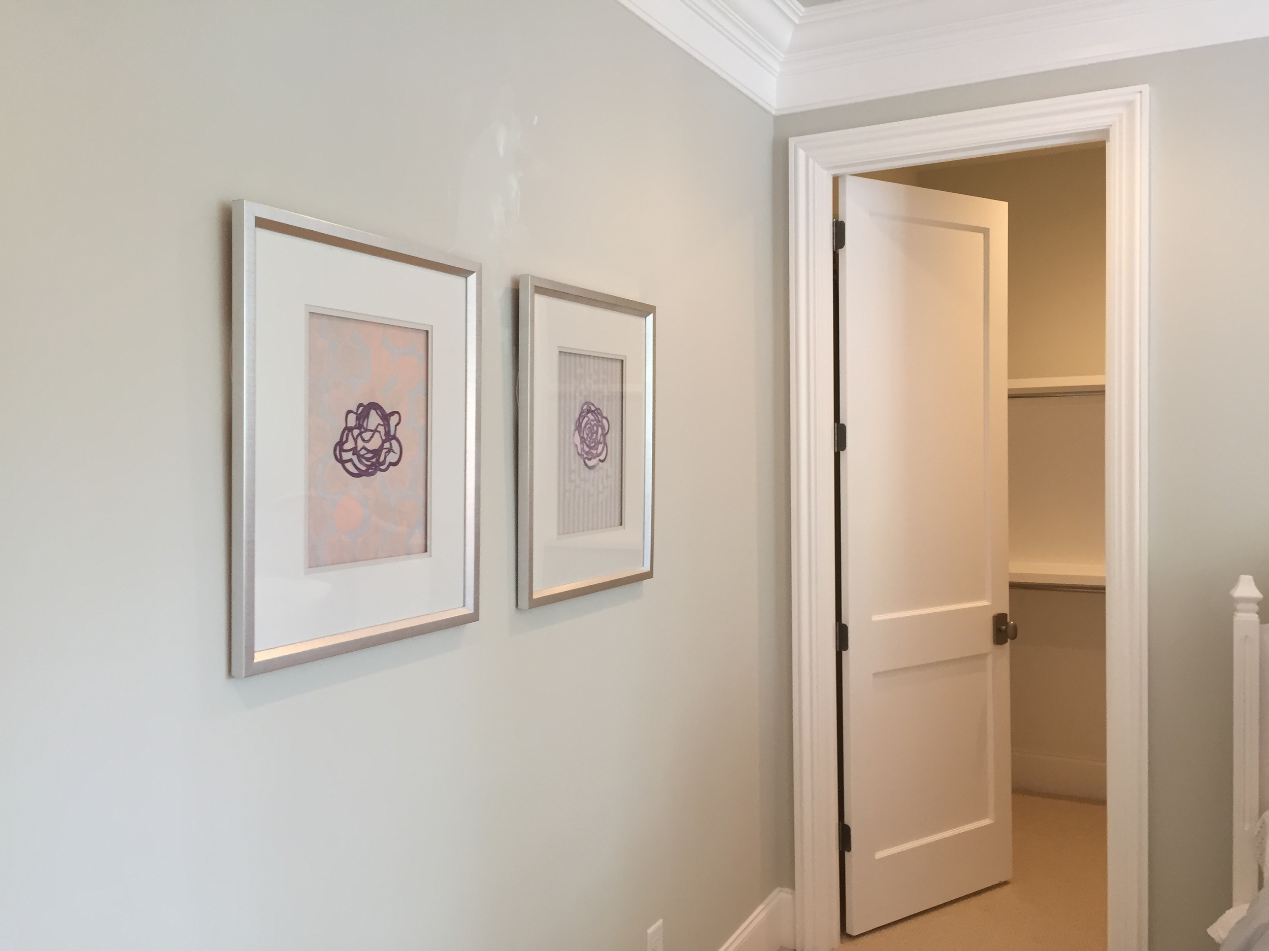 Soft, neutral colors were used throughout. Some popular colors were Benjamin Moore Titanium OC49, Benjamin Moore Moonshine OC56, and Sherwin Williams Agreeable Grey