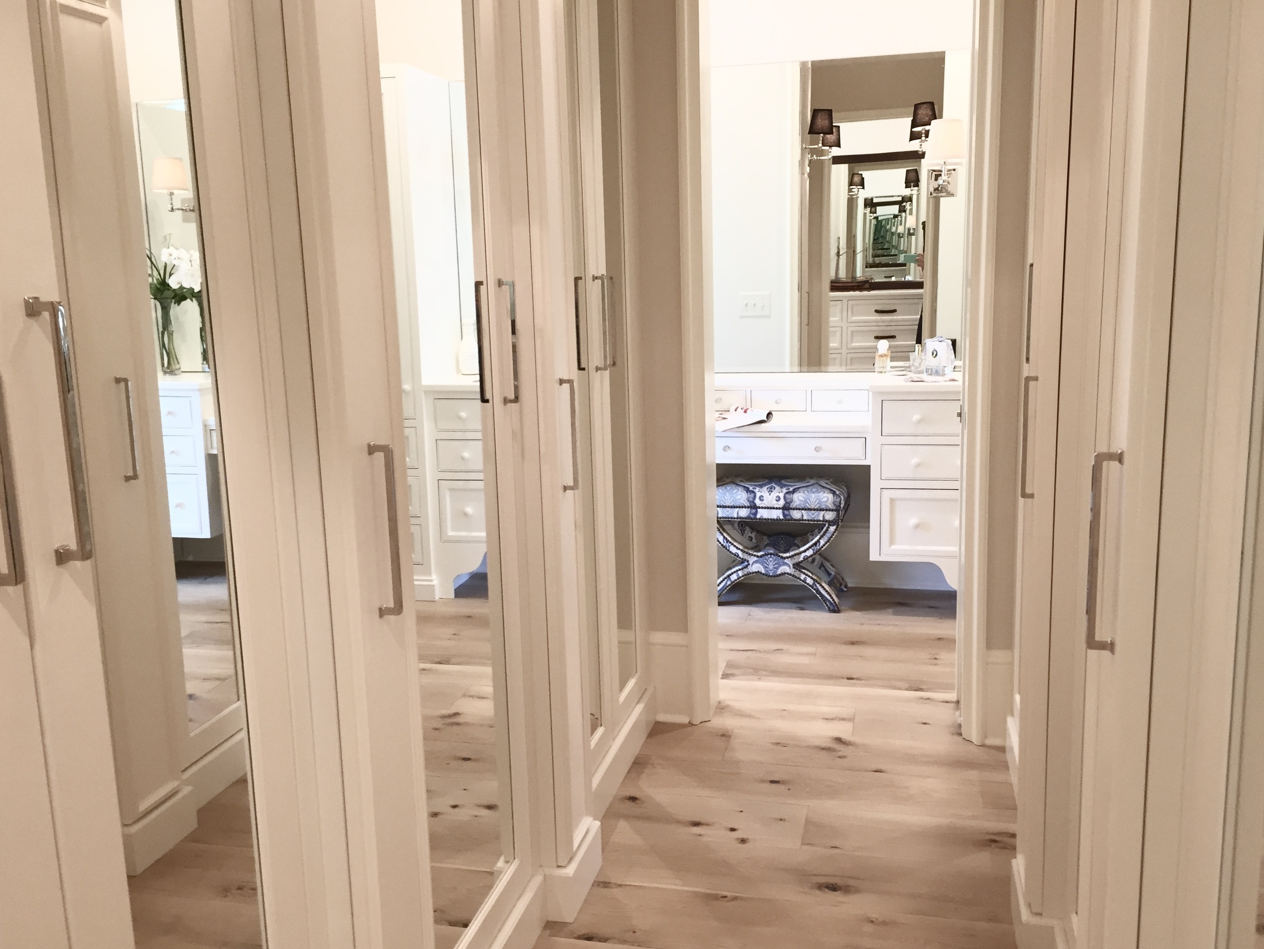You could hear people oohing and ahhing over this closet from rooms away. Each pull revealed hidden closet space, and the mirrors accentuated the size and elegance of the room.