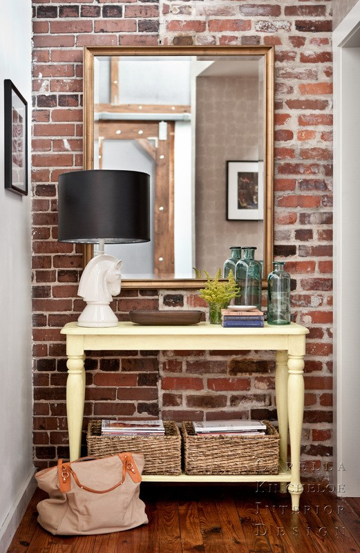 From  Decor Pics   No need to commit to a large wall. Here, a small statement wall welcomes you into the home with just the right amount of character and charm.