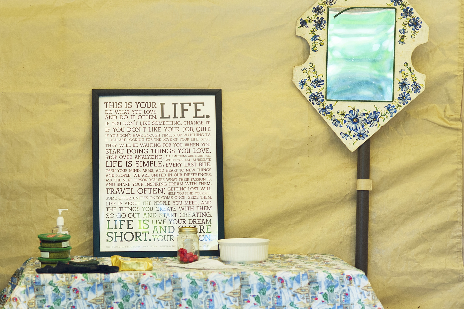 Eugene, ORE. - Home decorations in the kitchen tent at the Nightingale Health Sanctuary. Photo by: Debra Josephson