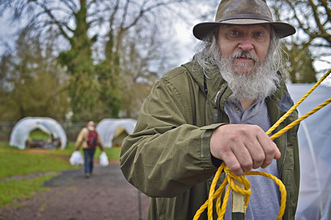 Eugene, ORE - John Thompson, 68, settles in to the Nightingale Health Sanctuary. By: Debra Josephson