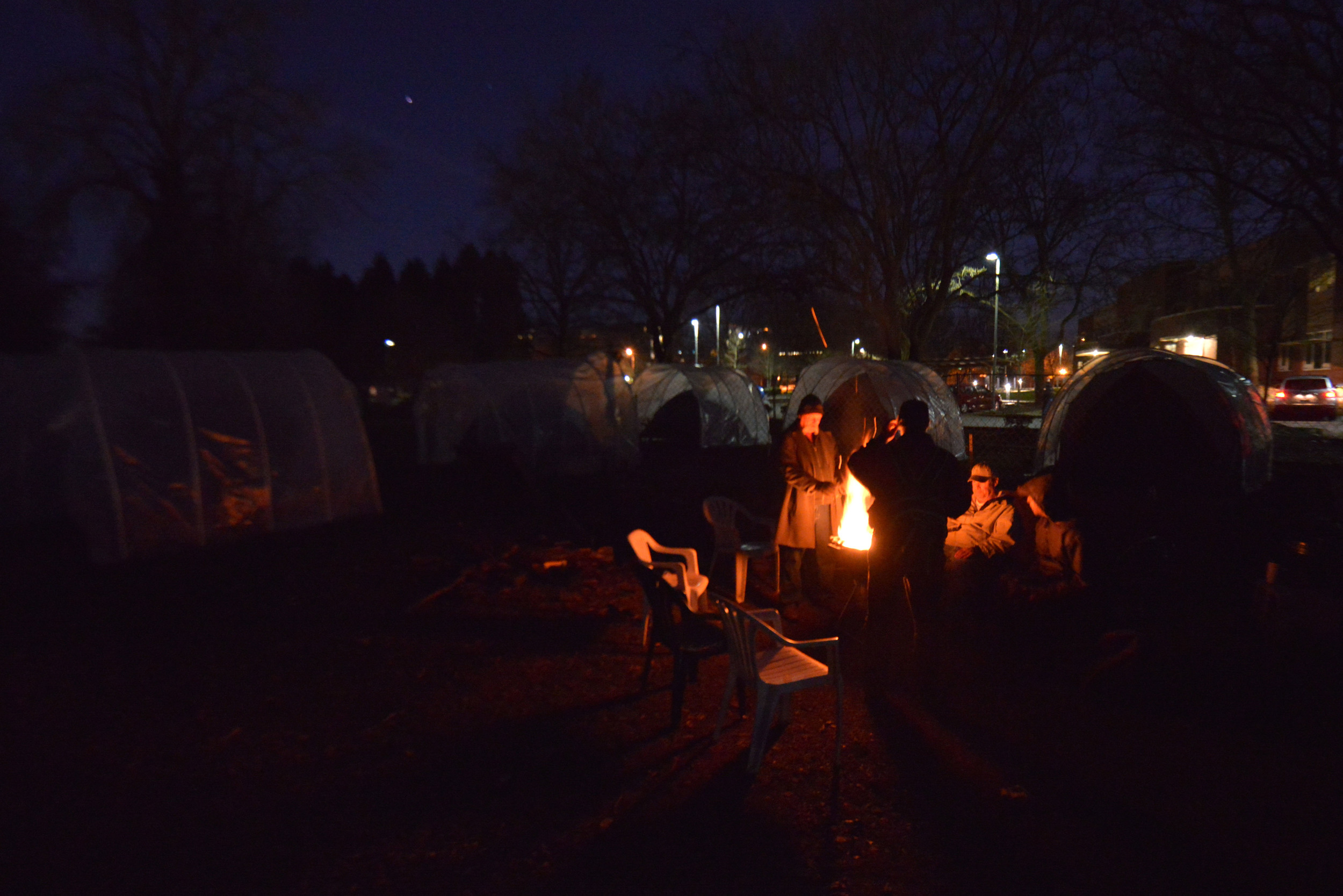 Eugene, ORE - On cold nights, a controlled bonefine is made to keep warm and to social among the Nightingale Health Sanctuary. By: Debra Josephson