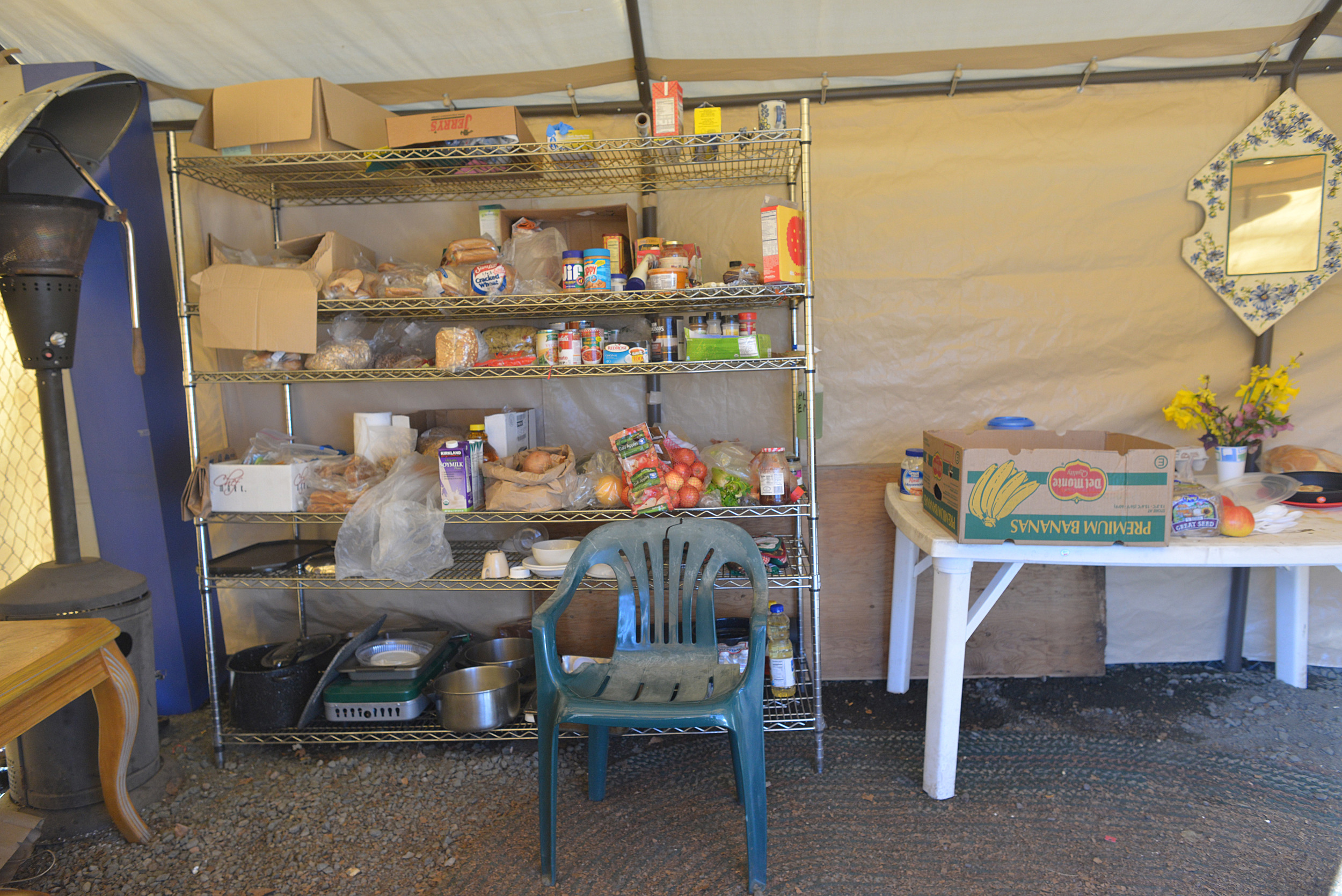 Eugene, ORE - Donations of food kept in designated kitchen tents located in both rest-stops. By: Debra Josephson