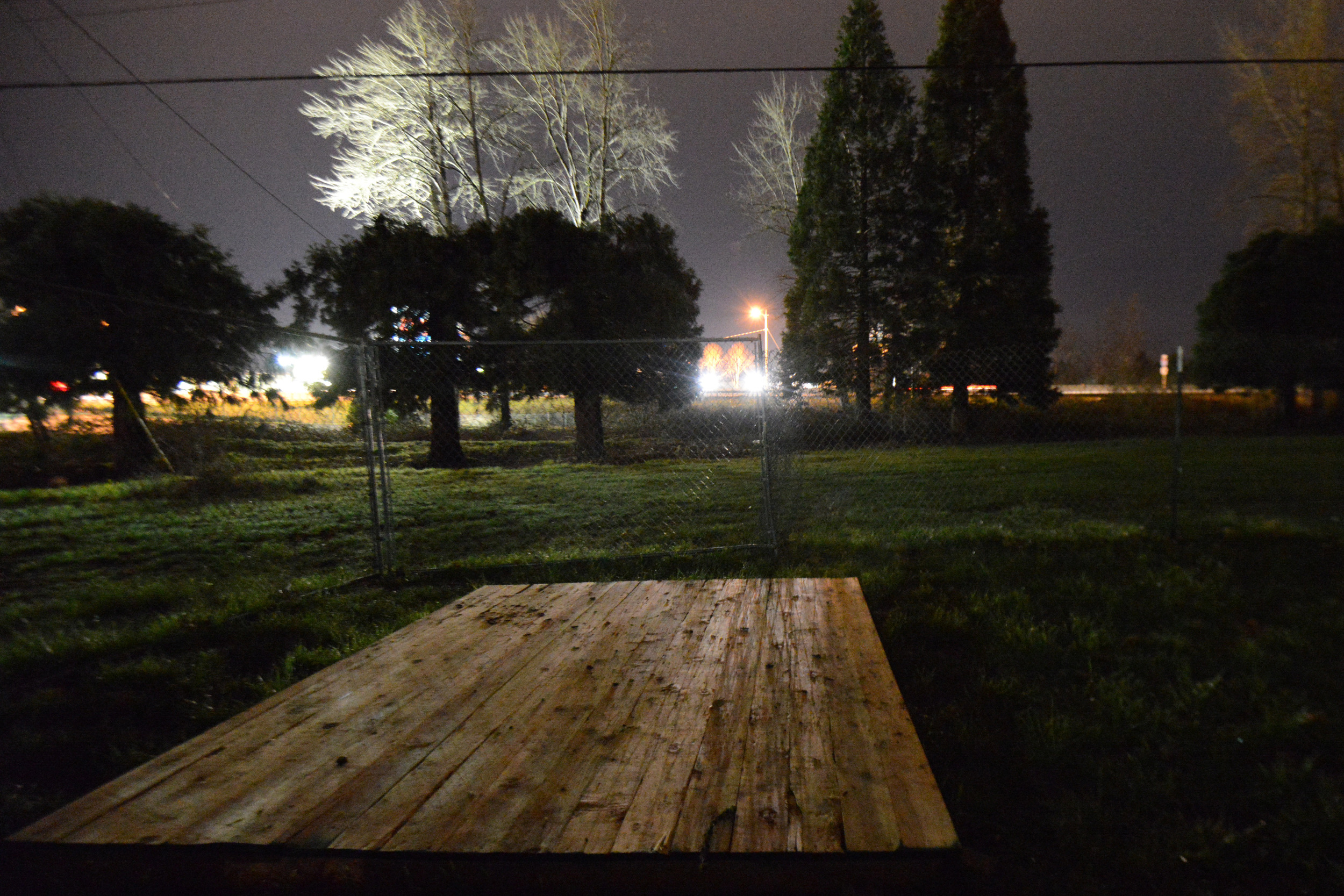 Eugene, ORE - Wooden platforms, approximately 8x8 in size, are used as the foundation to the mobile conestoga housing to keep tenants clean and dry. By: Debra Josephson