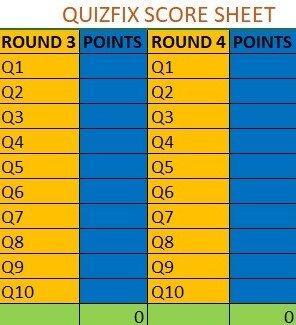 Quizfix Score Sheet Quizfix