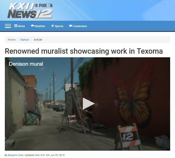 Renowned muralist showcasing work in Texoma.  Visit video here.