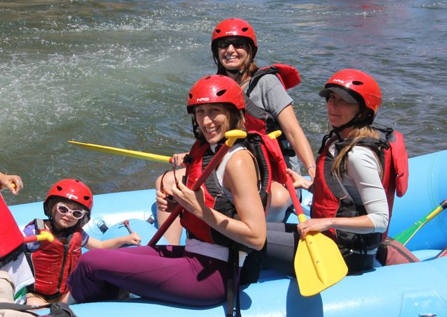 Happy faces at the bottom of Jaws Rapid - Truckee River