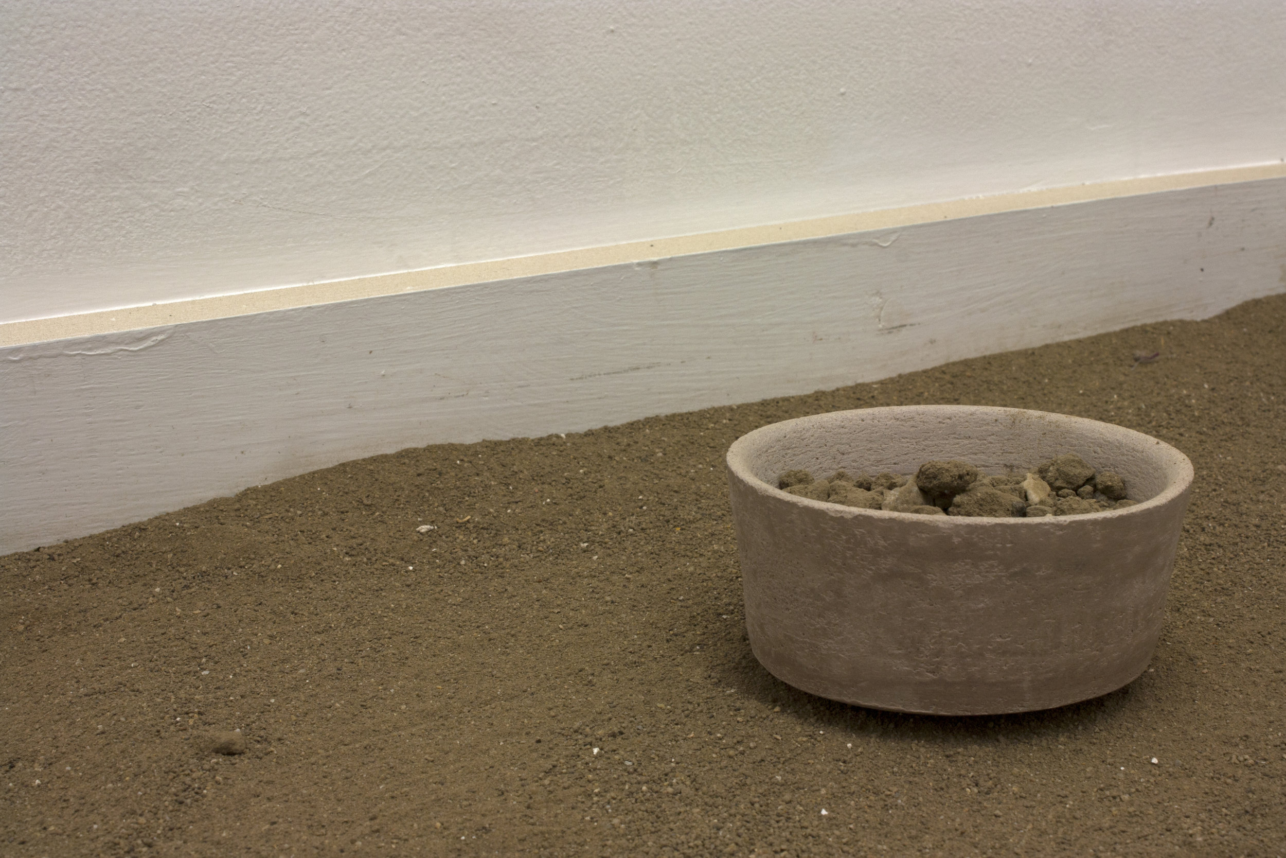 another and another    Sifted Dirt, Unfired Clay, and Pushpin in Room   8.5' x 9' x 10'  2016