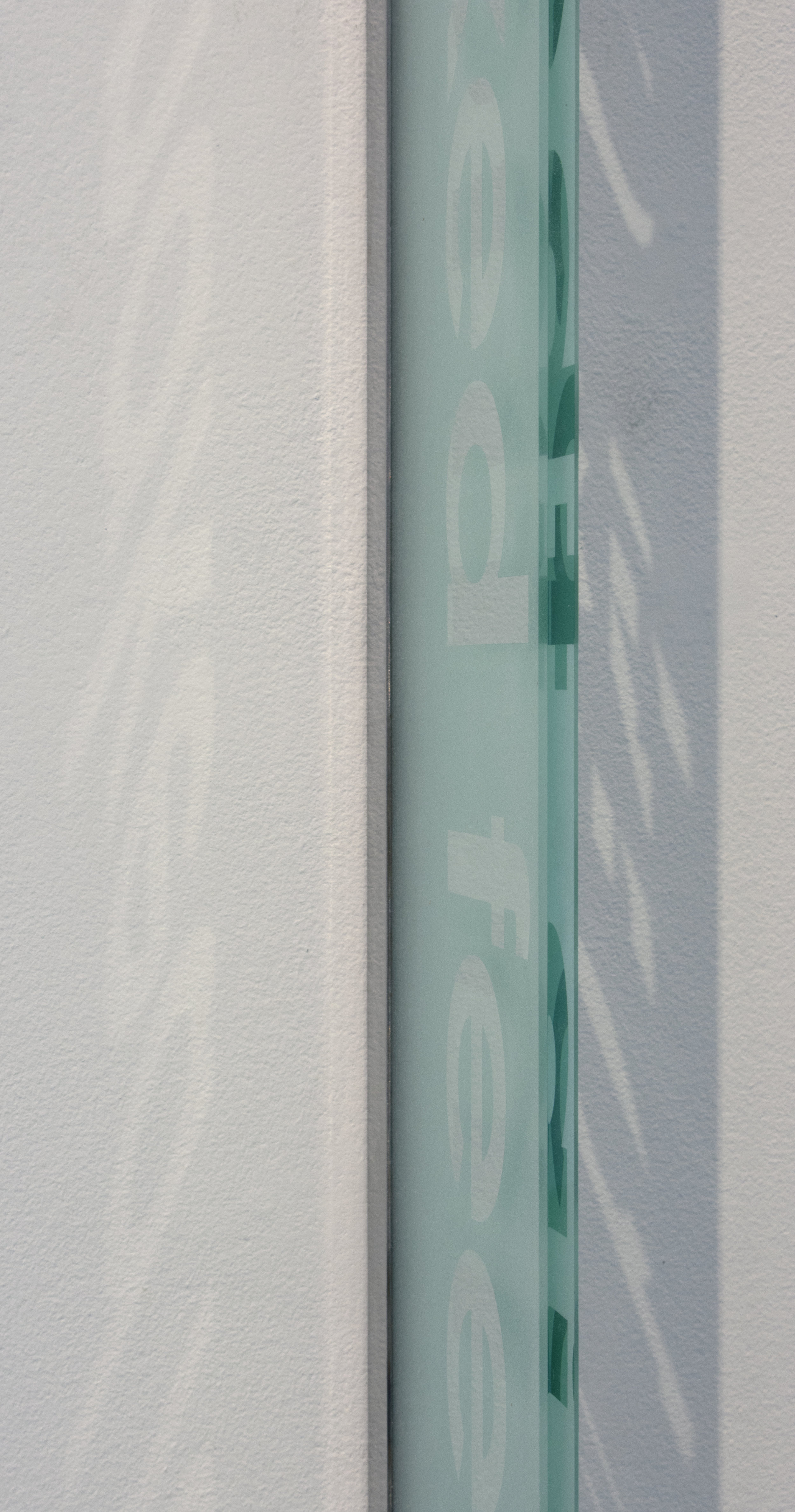 """no title (from the  to be a vision  series)   Glass and Steel   Panels each 36"""" x 8"""" x 3/8""""  2019"""