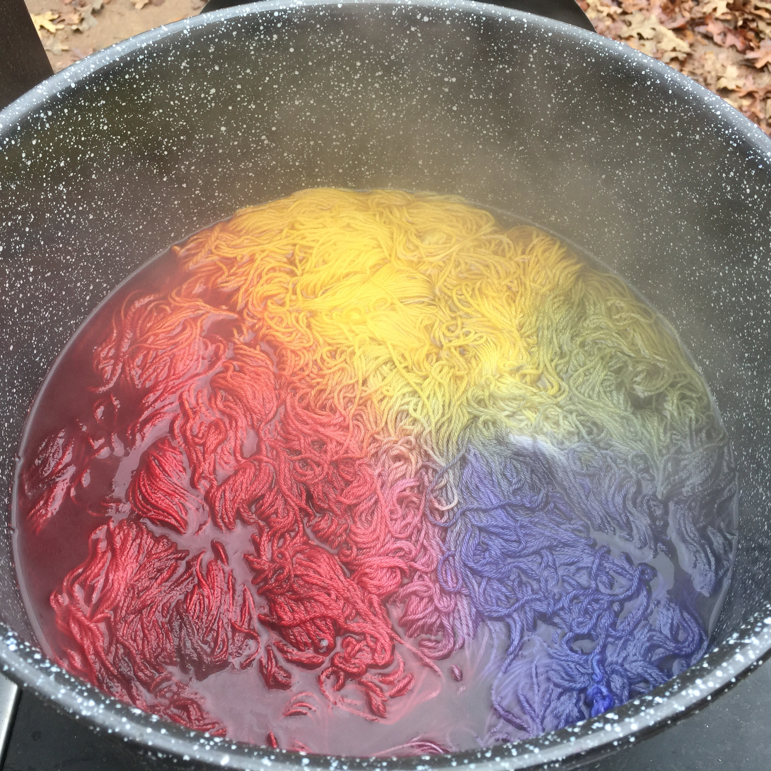 Colors and yarn in the kettle