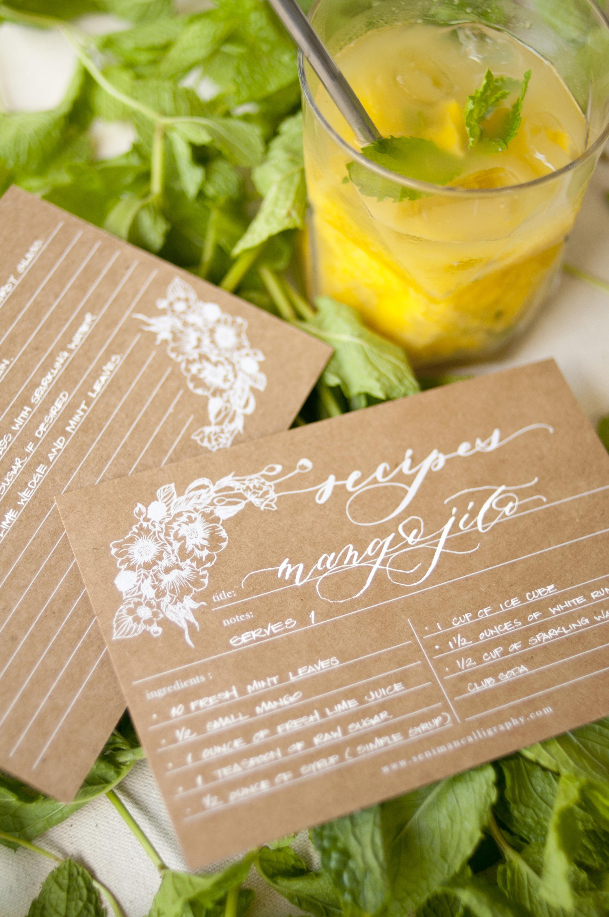 seniman calligraphy kraft and white ink recipe cards_11.JPG