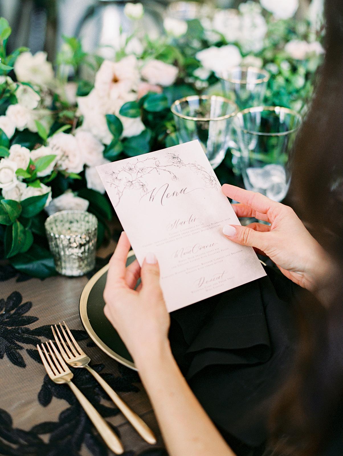 Photo by  Jon Cu Photography    Wedding Planning by  The Elegant Ninja    Floral by  Poppy Design Co    Venue  Malibu Rocky Oaks    Rental  Premiere Party Rents    Linen by  La Tavola Linen    Stationery by  Seniman Calligraphy