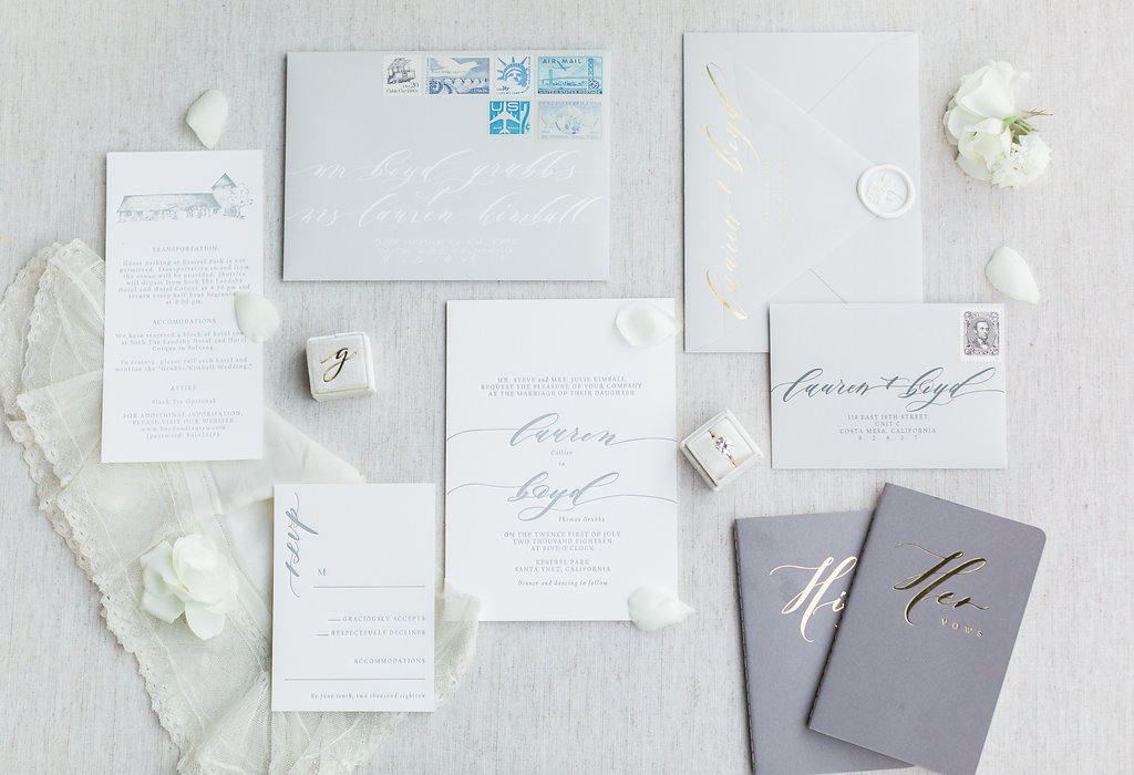 Custom Invitations by Seniman Calligraphy .  Wedding Vow Books available for purchase from Seniman Calligraphy .  Ring box by The Mrs. Box.