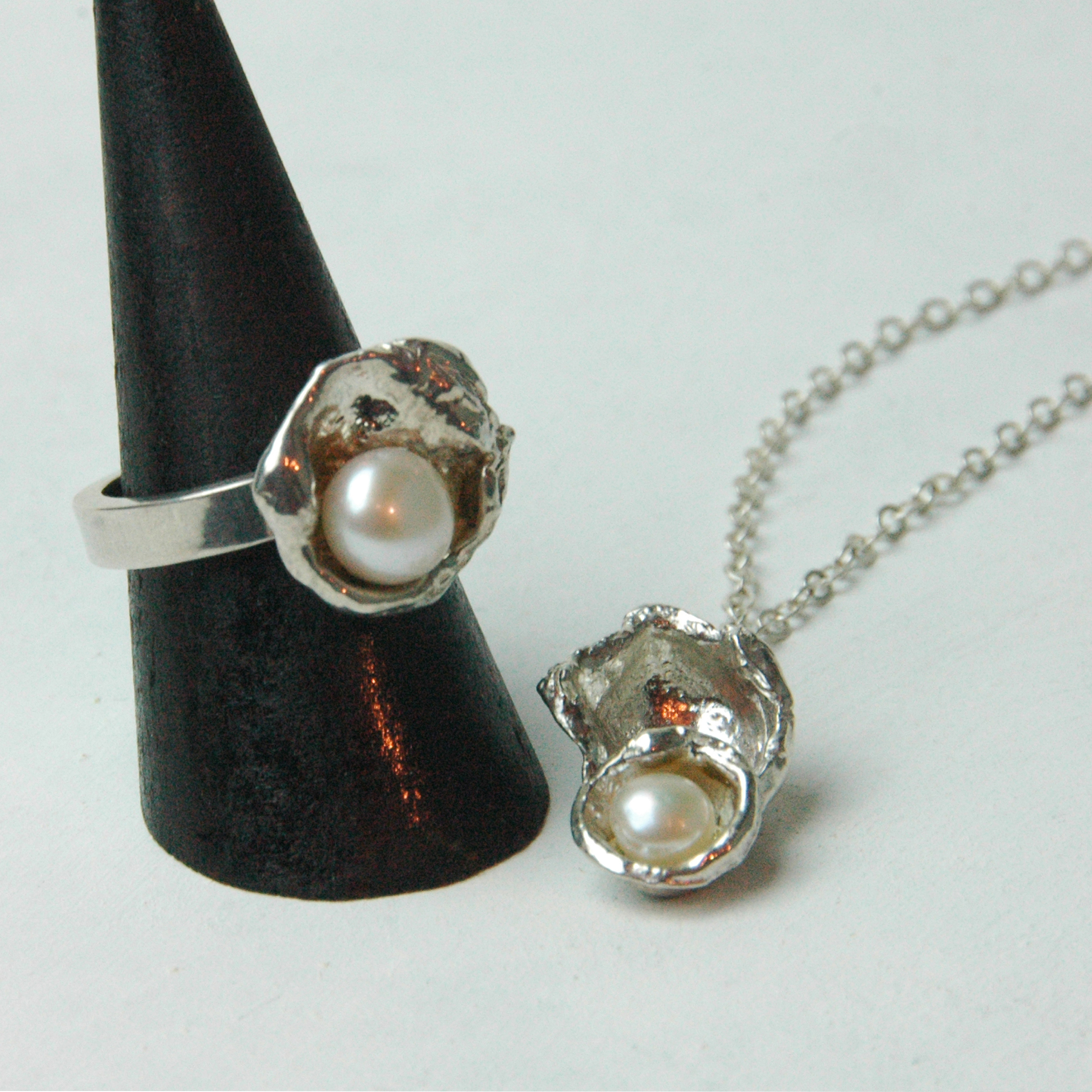 Sterling Silver Watercast Ring and Pendant with White Freshwater Pearls n.jpg