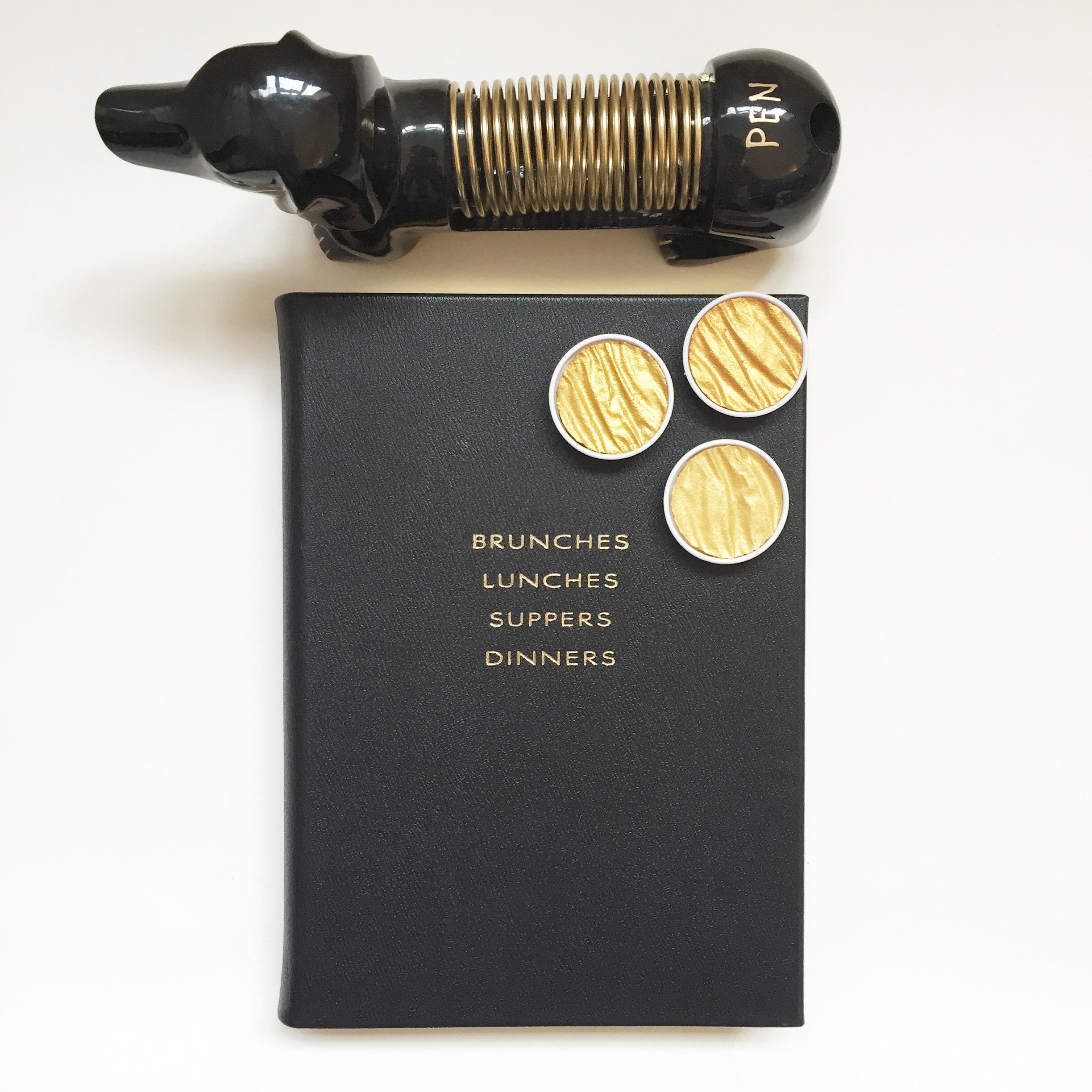 Book -  Smythson    Ink -  Quill London    Letter & Pen Holder -  Anthropologie