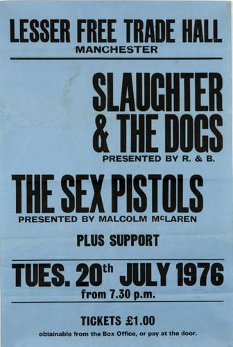 An original boxing style concert poster from the Lesser Free Trade Hall in Manchester. The poster is advertising the legendary concert by The Sex Pistols that took place on the 20th July 1976.