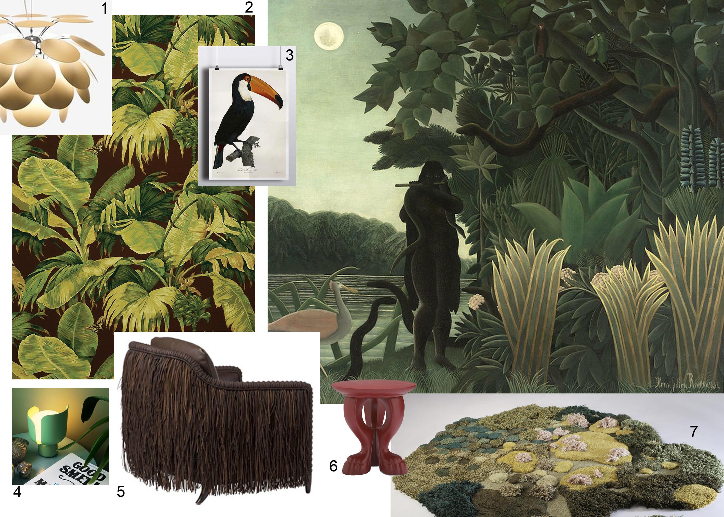 Painting: Henri Rousseau - The Snake Charmer 1907 - 1. Marset - 2. Pierre Frey - 3. Etsy - The Black Vinyl - 4. Fontana Arte - 5. Baker - 6. McGuire- 7. Alexandra Kehayoglou