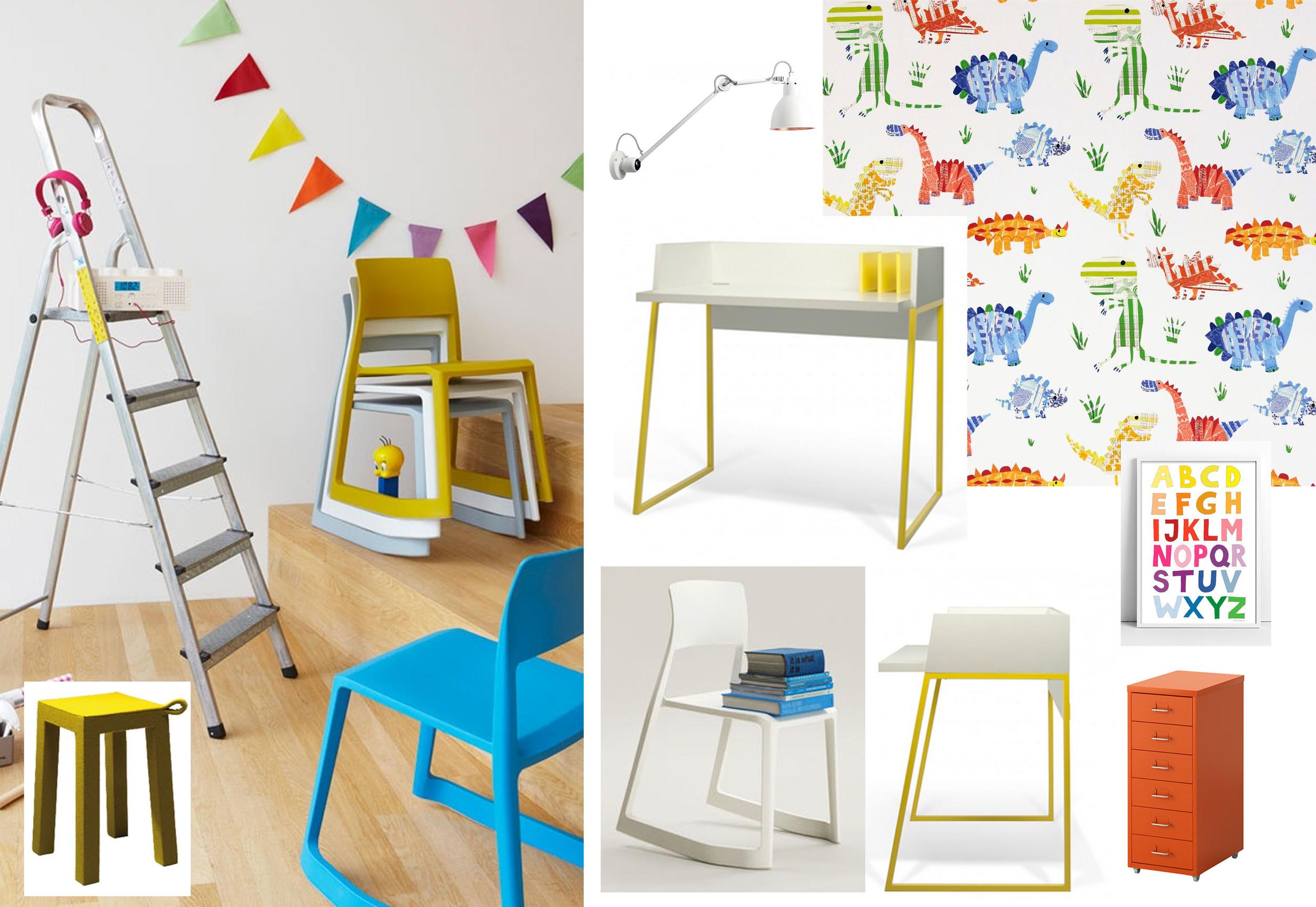 Tip Ton Chair  Vitra  - Volga desk  Temahome  - stool Handle  Temahome  - Drawer unit  Ikea  - wallpaper Jolly Jurassic  Harlequin  - ABC poster  Tellkiddo  - wall light  DCW-editions