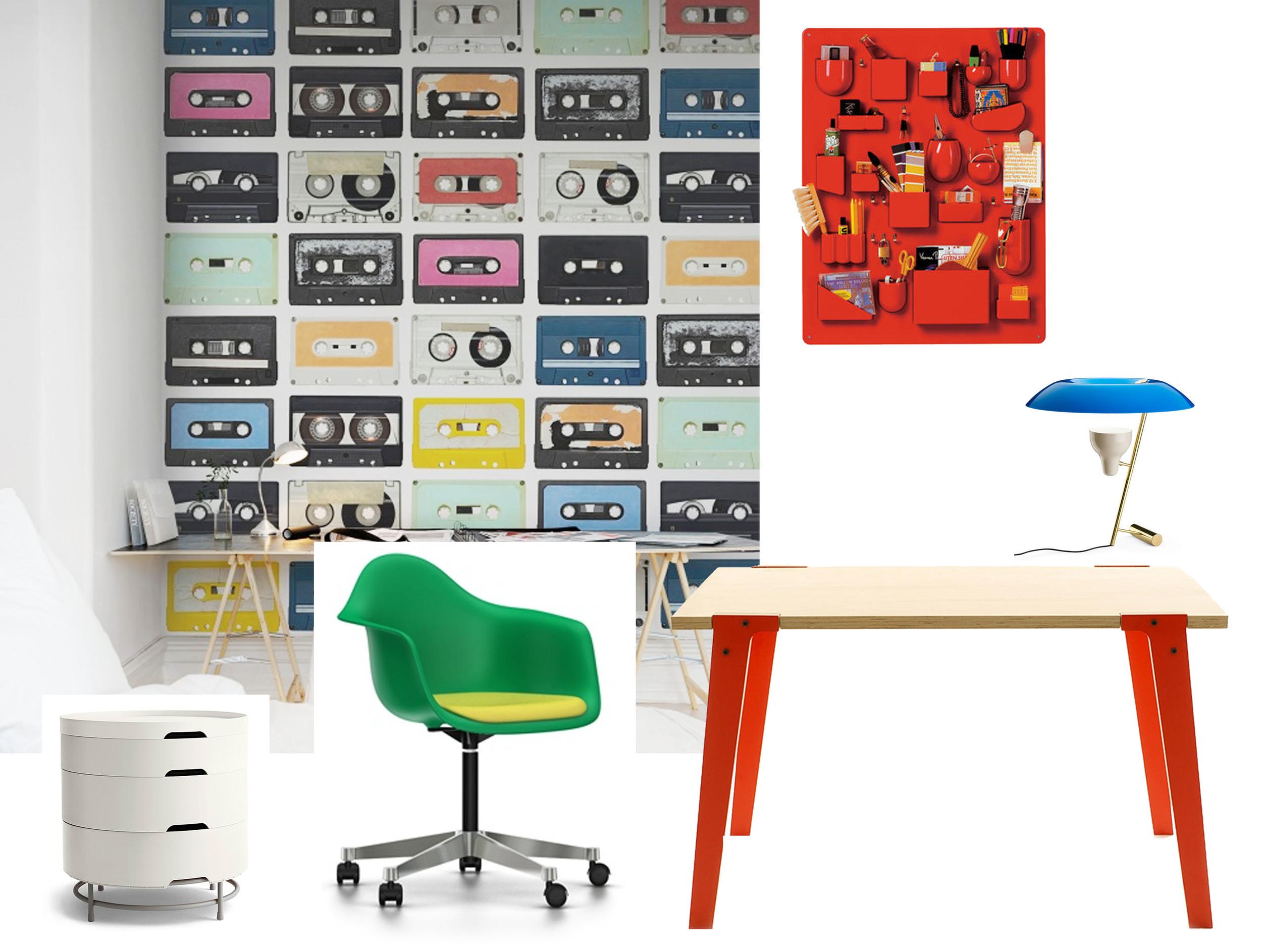 Eames chair  Vitra  - Switch desk  Rform  - desk lamp MOD. 548  Flos  - drawer unit  Ikea  - wallpaper Mixed Tape  Rebel Walls - wall organiser Uten.Silo  Vitra