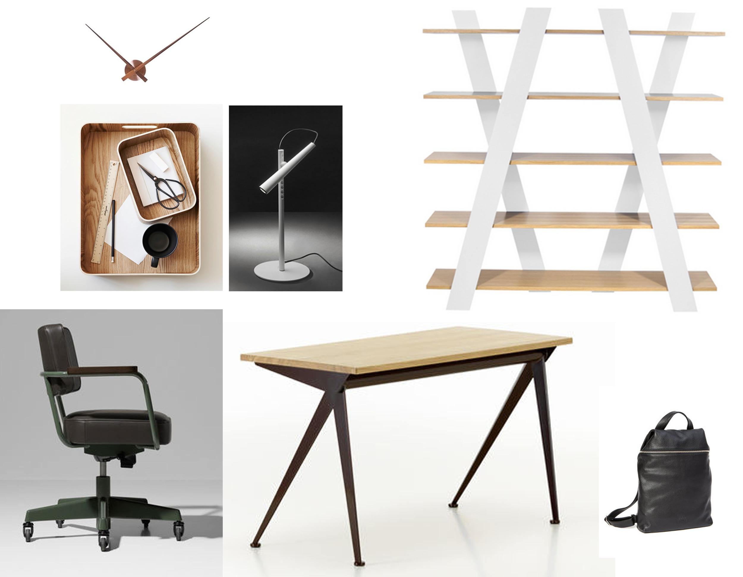 chair Jean Prouve Raw Office Edition  Vitra  - Jean Prouve Compas  Vitra  - desk lamp Magneto  Foscarini  - shelves Wind  Temahome  - wooden desk trays found on  The Design Files  - minimalist wall clock Little Big Time  Karlsson - black leather backpack  Leduxbags