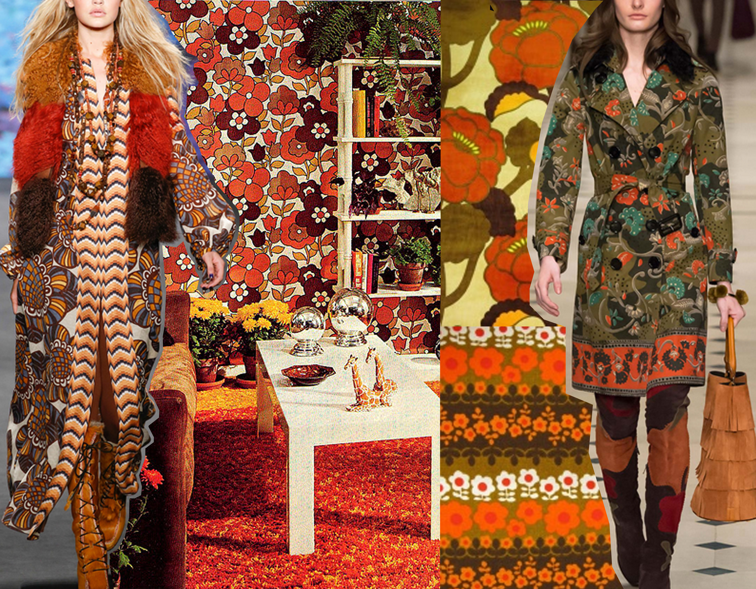 A/W 2015  Anna Sui  - vintage wallpaper and fabrics  Vintage Wallpaper  - A/W 2015  Burberry Prorsum