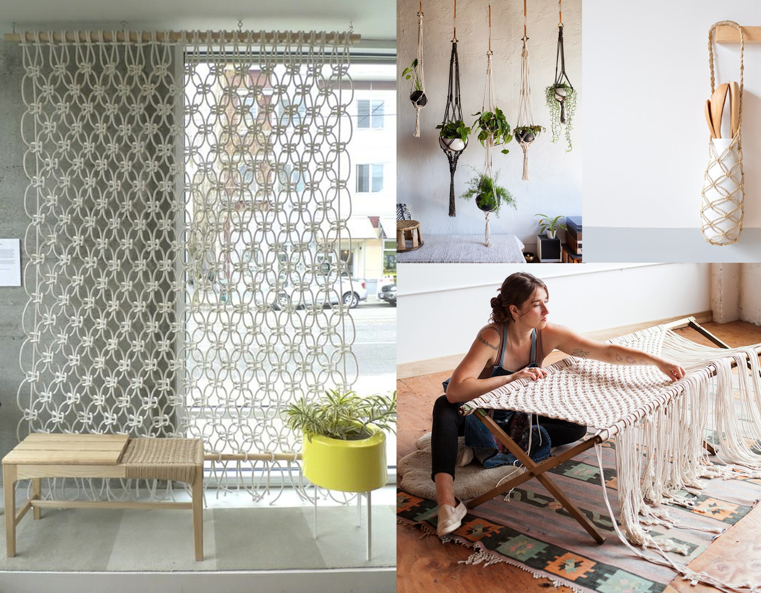 found on  Remodelista : wallhanging by Sally England - potholders  Modern Macrame  -  Emily Katz  at work in her studio
