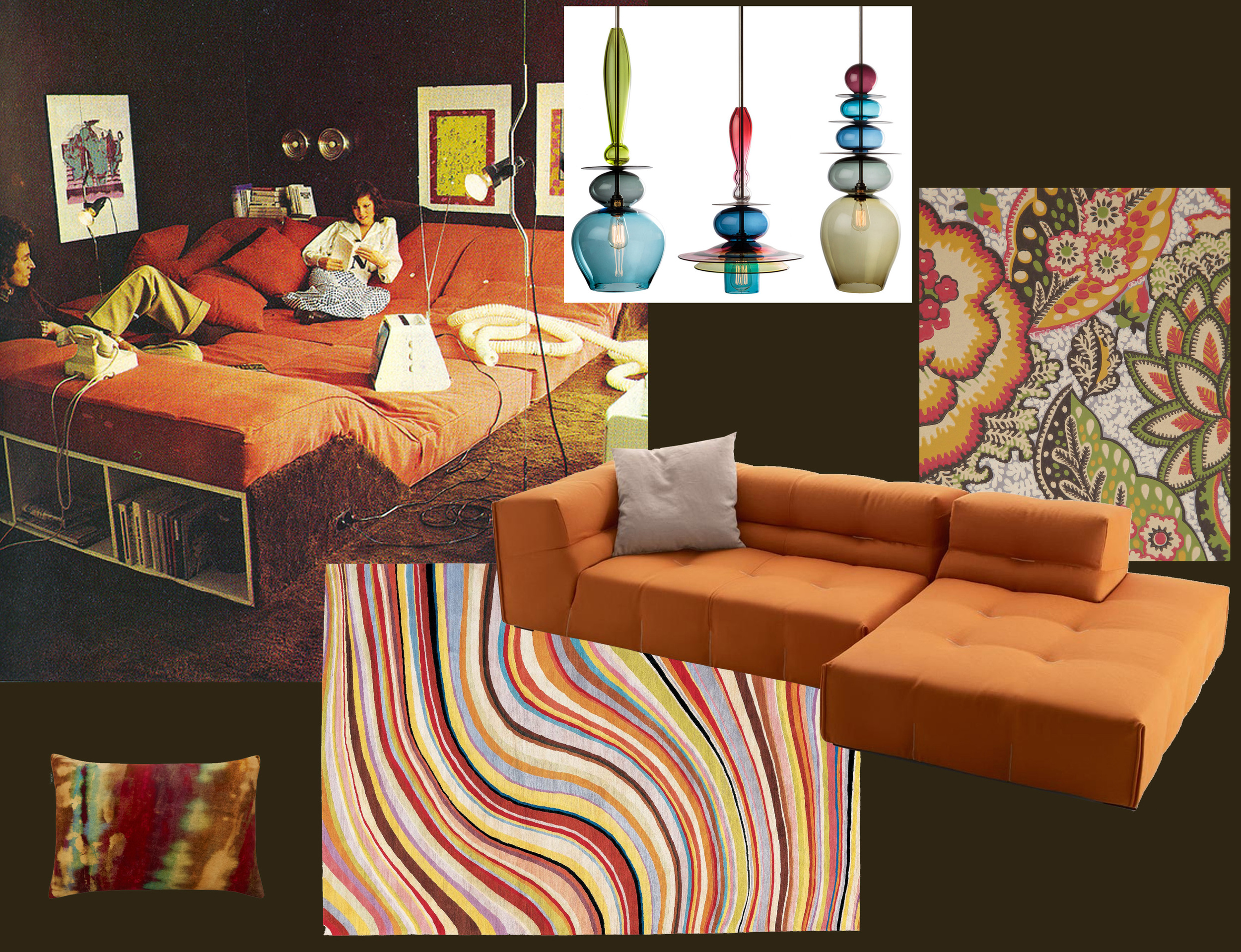 archive picture found on  Pinterest  - Boeme digital printed cushion  Liberty - Swirl rug designed by Paul Smith  The Rug Company  - Tuffy Too sofa  B&B Italia  - Patricia Anne wallpaper  Liberty  - hand-blown hanging lamps  Curiousa & Curiousa